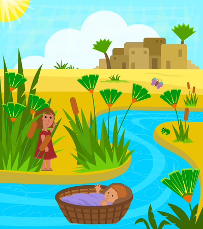 Cute illustration of baby Moses on the Nile river with his sister watching over him from a distance. Eps10 Vettoriali