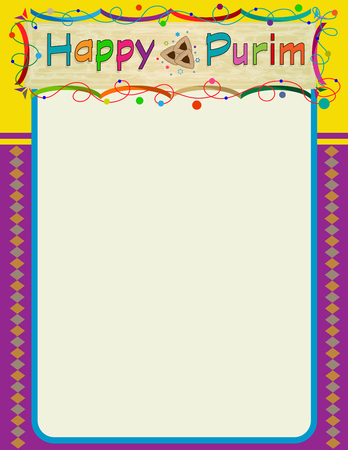 religious backgrounds: Happy Purim decorative blank sign. Eps10