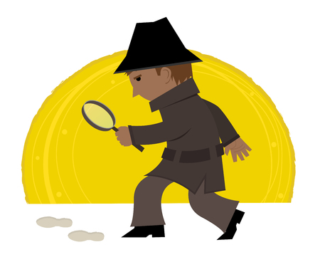 Cartoon clip art of a detective holding a magnifying glass and looking at footprints. Eps10