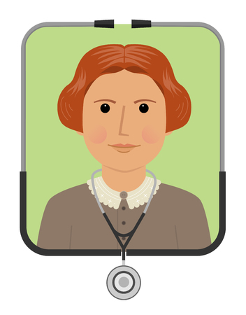 Cartoon illustration of Elizabeth Blackwell the first female doctor. Eps10 Ilustração