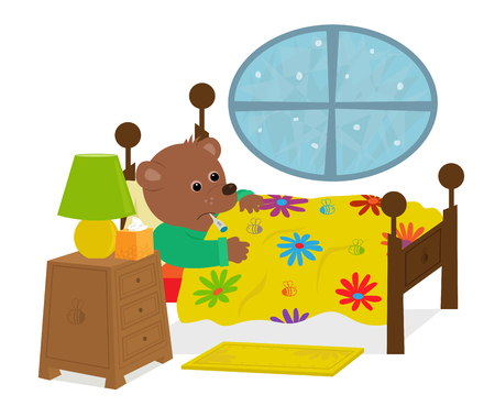 Cute bear is laying in his bed with a thermometer in his mouth. Eps10 Illustration