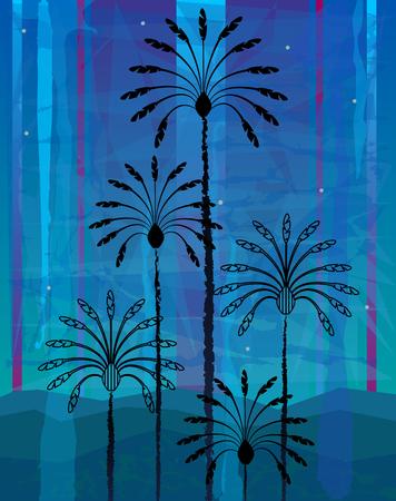 Silhouetted stylisé palmiers sur fond bleu abstrait. EPS10 Banque d'images - 68975830