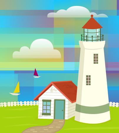 Vuurtoren met kleurrijke abstracte hemel en zeilboten. Eps10 Stock Illustratie