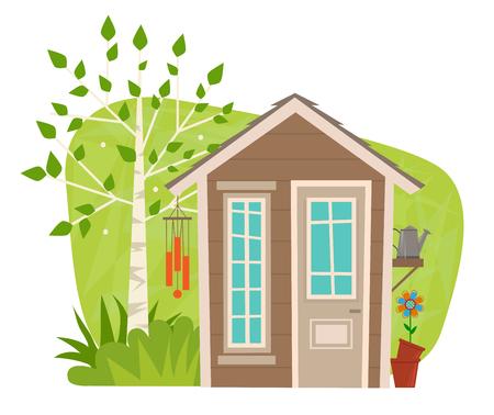clip-art van een klein tuinhuisje met boom, wind klokkenspel, gieter en bloem. Eps10