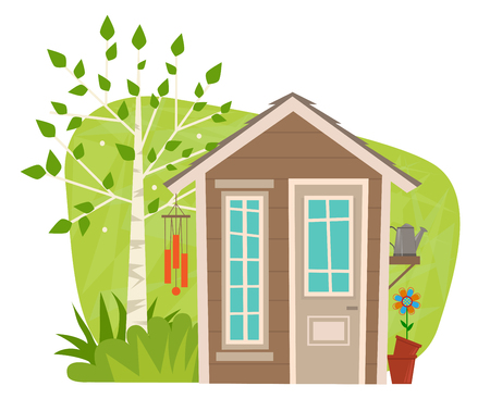 clip-art of a small garden shed with tree, wind chime, watering can and flower. Eps10 Illustration