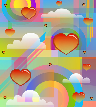 colorful and radiant 80s style design with hearts, clouds and rainbows. Eps10 Ilustração
