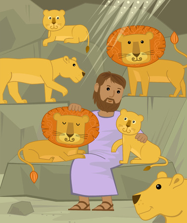 animal den: Cute illustration of Daniel in the lions den. Eps10