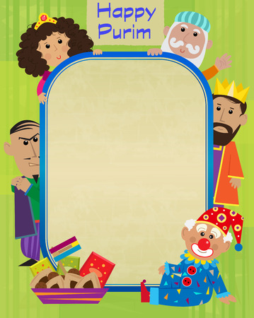 Happy Purim blank sign with the holiday characters around it. Eps10 Çizim