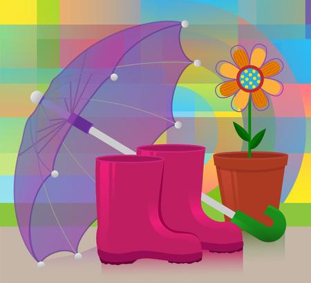 장화, 추상적 인 배경에 우산과 화분에 심은 꽃의 다채로운 그림. EPS10 일러스트