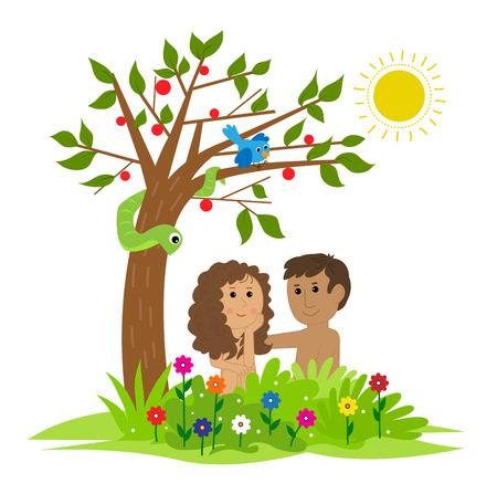 아담과 이브가 에덴 동산에있는 나무 아래 앉아있는 귀여운 클립 아트. Eps10