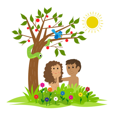 Cute clip art of Adam and Eve sitting under a tree in the garden of Eden. Eps10