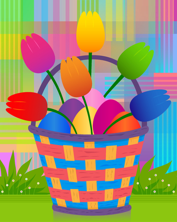 Colorful and radiant design of Easter basket with eggs and tulips. Eps10 Ilustração