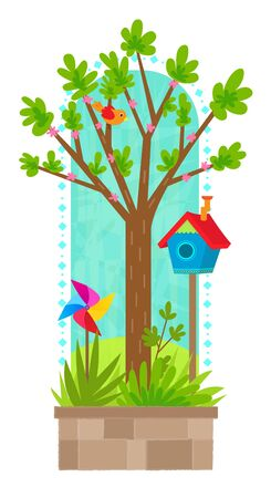 Clip art of tree in springtime with bird, birdhouse and pinwheel. Eps10 Illustration