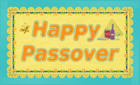 Decorative Happy Passover sign. Eps10