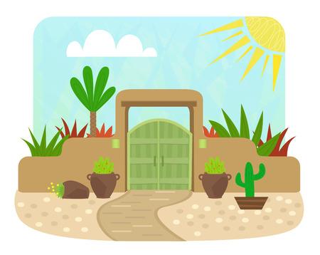 緑のドアと植物漫画プエブロ スタイル ゲート。Eps10  イラスト・ベクター素材