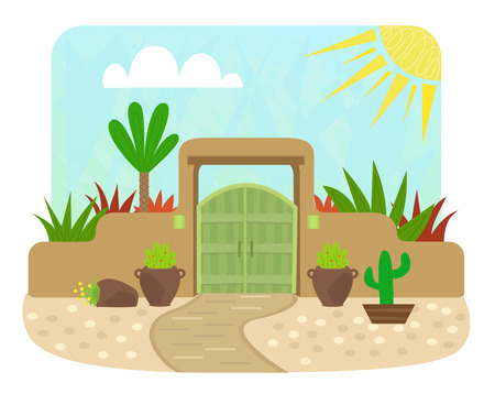 Cartoon pueblo style gate with green door and plants. Eps10