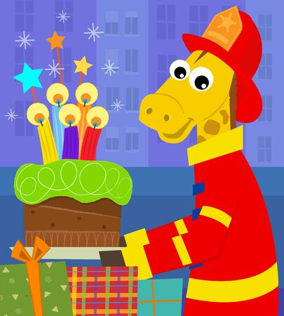 cartoon present: A fireman giraffe is holding a birthday cake with colorful candles. Eps10 Illustration