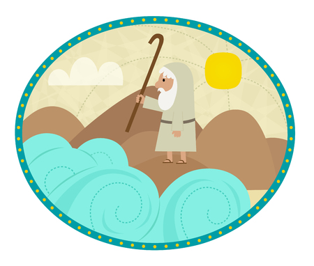 Clip art of Moses splitting the sea.