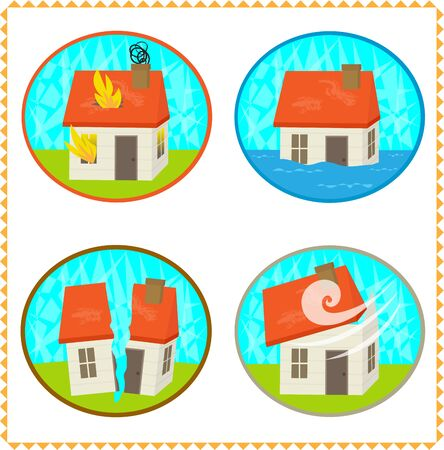 Four icons of natural disaster on a houses. Stock Illustratie
