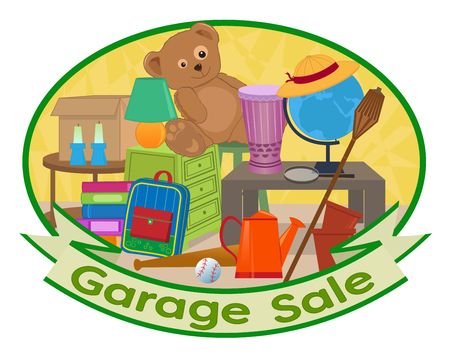 Cute clip art of different household items with garage sale text at the bottom.