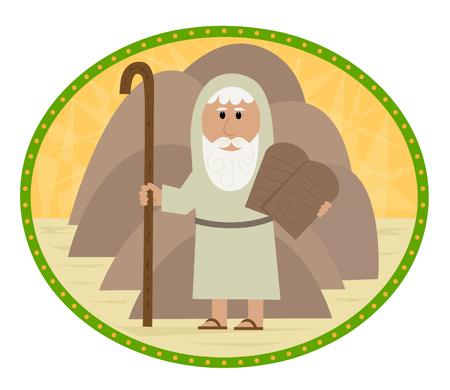 Clip art of Moses carrying the ten commandments. Eps10