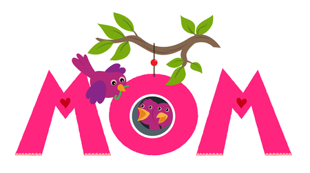 "The word ""mom"" with mother bird bringing food to her chicks that are nesting in the letter ""O"". Eps10 Illustration"