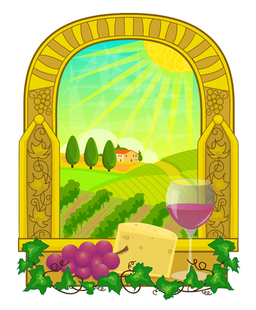 Decorative clip art of a vineyard landscape with glass of wine, cheese and grapes at the front. Eps10