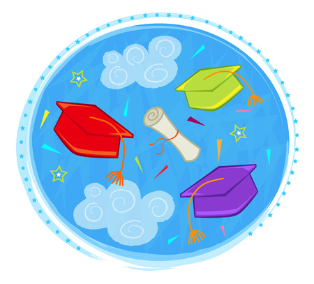 Colorful graduation caps and diploma on a blue sky background. Eps10