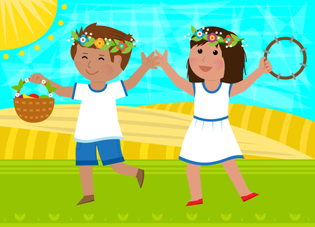 Boy holding basket and a girl with tambourine are dancing in the field. Eps10