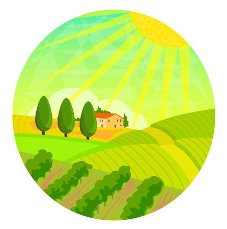 Clip art of vineyard landscape. Illustration