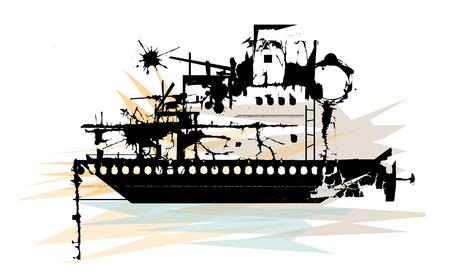 Stylized illustration of silhouetted battleship wreckage.