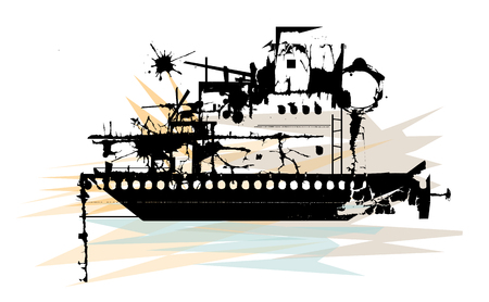 Stylized illustration of silhouetted battleship wreckage. Stock Vector - 78286206