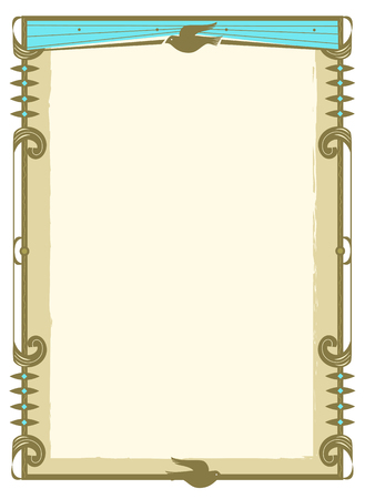 Blank sign with decorative frame in gold and blue colors and a stylized dove at the top and bottom. Eps10