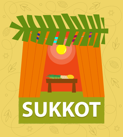 "A hut with ""sukkot"" title at the bottom and decorative background. Eps10"