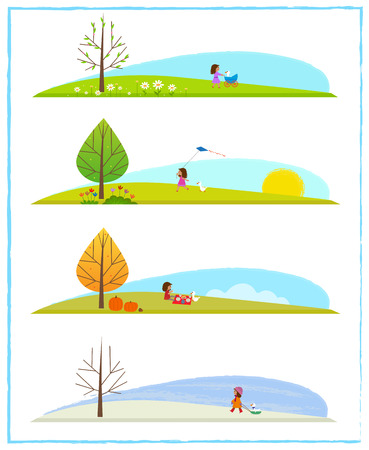 Cute clip art of the four season cycle, with a little girl and her goose. Stock Vector - 84378243