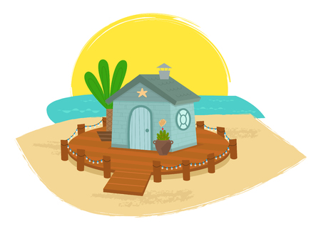 Cute cartoon house with a deck and lights on a sandy beach.
