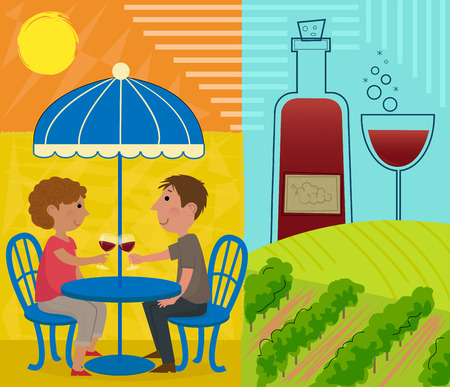 Couple are sitting around a table holding wine glass, and a vineyard with wine bottle and a glass. Ilustracja