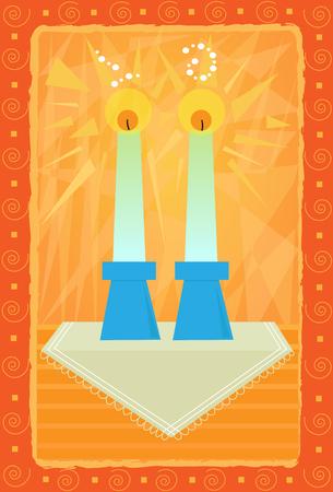装飾的な安息日グリーティング カード デザインをキャンドルします。
