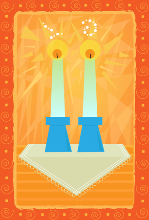 Decorative Sabbath candles greeting card design. Ilustração