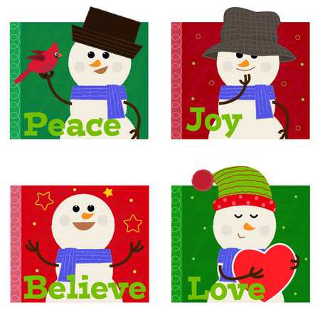Cute set of four snowman icons. 向量圖像