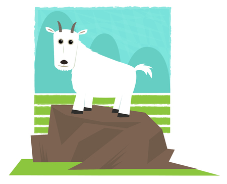 Clip art of a mountain goat standing on a rock.