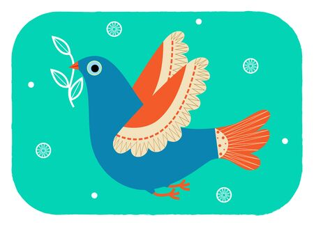 Stylized bird with olive branch in her beak.