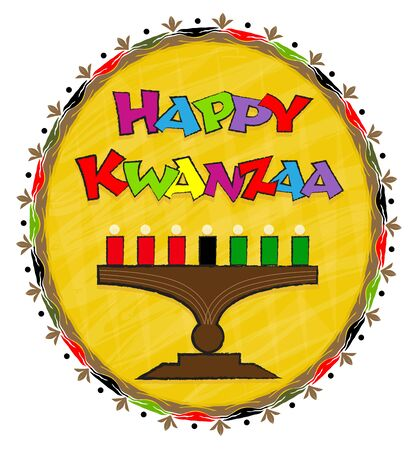 Festive clip-art of Kinara and colorful Happy Kwanzaa text. Eps10