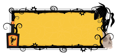 Halloween blank banner with decorative black frame and potion, carnivorous plant and a skull around it. Illustration