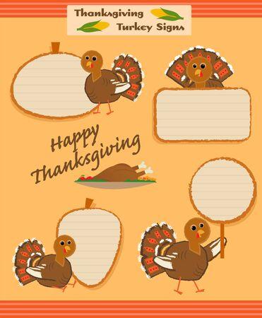 Four cartoon thanksgiving turkey signs