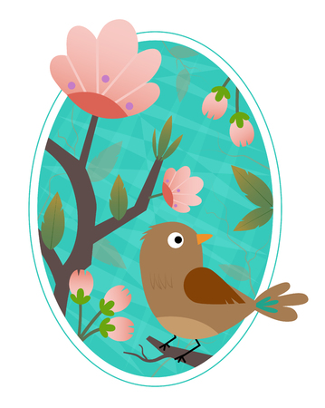 Cute bird standing on a blooming branch. Çizim