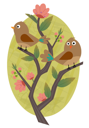 Clip-art of two birds standing on a blooming branch.