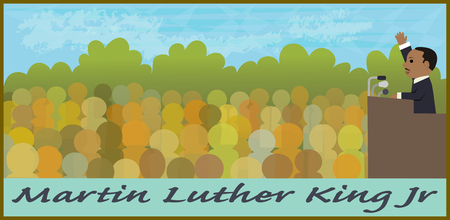 Cartoon illustration of Martin Luther King Jr speaking in front of a crowd.