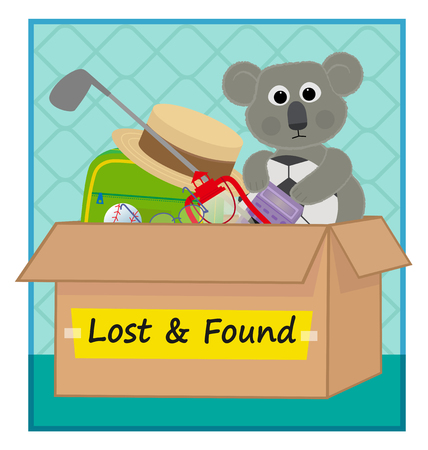 clip art of a lost and found box with lost items. Eps10 Vettoriali