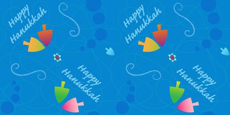Festive Hanukkah pattern with colorful dreidels and happy Hanukkah text. Eps10 Çizim